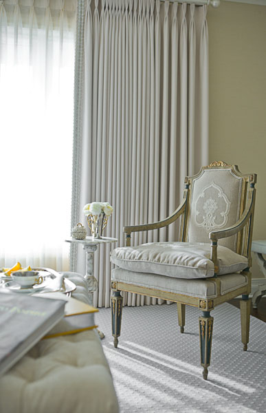 home, residential, bedroom, gray, antique chair, floor length drapes, marble table, traditional