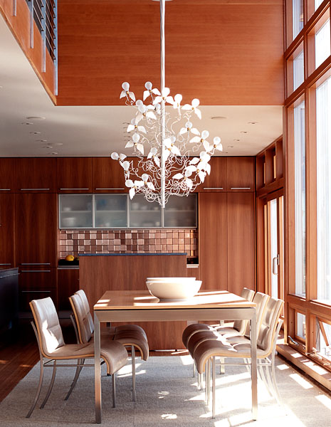 architectural, interior, photographer,home, residential, dining room, Ingo Maurer Chandelier, stainless steel railing, dining table, white bowls, dining table chairs, modern