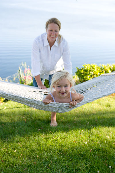 Girl, mother, child, woman, daughter, hammock, play, swing, white