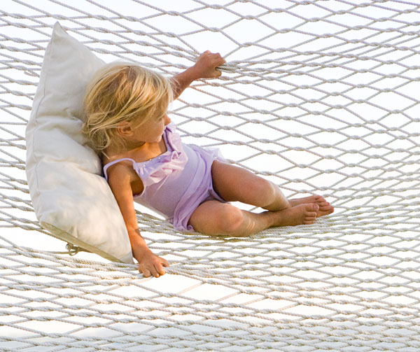 Girl, child, hammock, swing, play, white