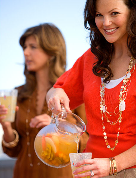 Woman, Women, Iced Tea, Beverage, red blouse, bbq, outdoor dining, entertaining