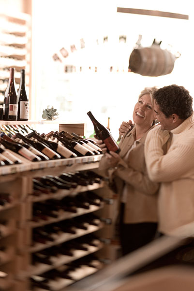 man, woman, couple, wine, shopping, wine rack