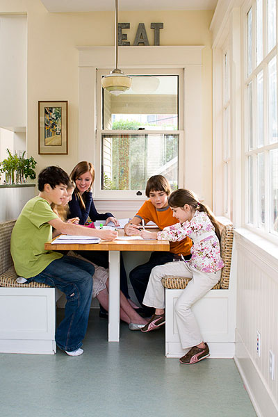 Kitchen, family, kids, children, girls, boys, built in table, homework