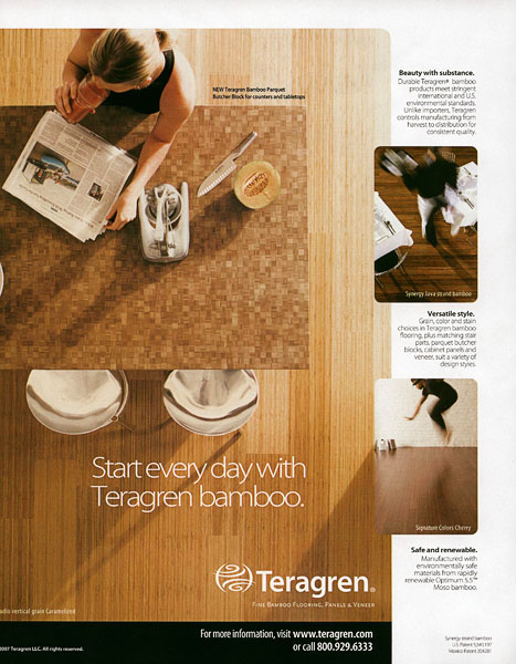 tear sheet, advertisement, floors, woman, breakfast, newspaper, juicer, fresh juice, cantaloupe
