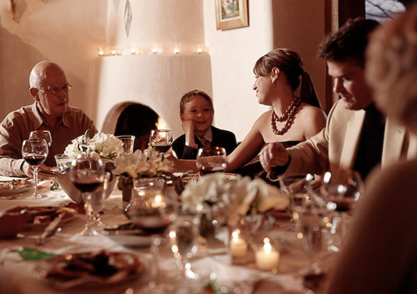 dining room, family, food, eat, entertaining, wine, thanksgiving, man, woman, child, senior, table