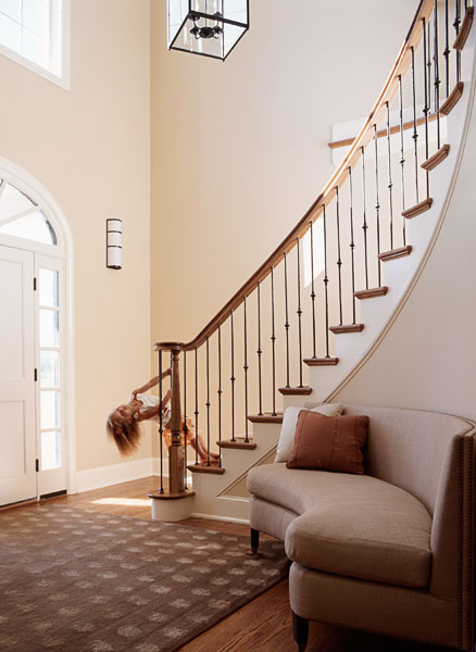 residential, entry way, foyer, staircase, child, girl, stairs, swinging