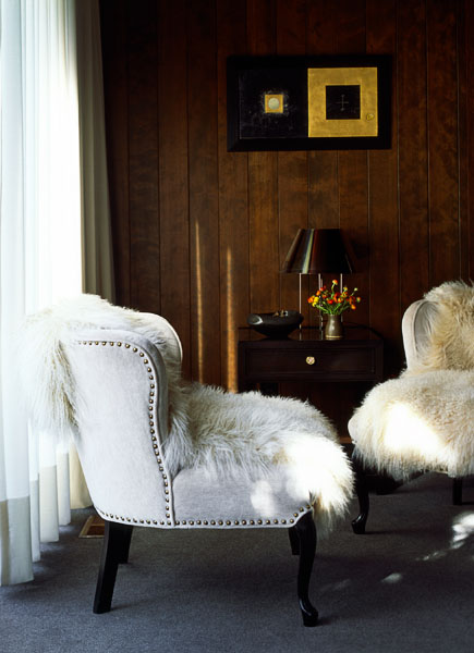 home, residential, living room, hemlock panelling, silver mohair velvet upholstered wing chairs, sheer curtains, lambs wool throws, architectural photographers, interior photographers, seattle