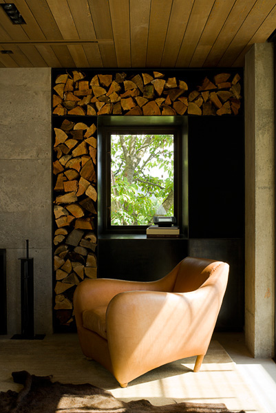 home, residential, living room, chopped wood, concrete fireplace, Balzac chair, architectural photographers, interior photographers, seattle