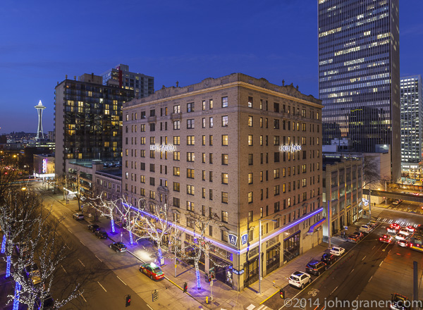 Hotel Andra, Seattle, hotel, resort, exterior, downtown, urban, view, space needle