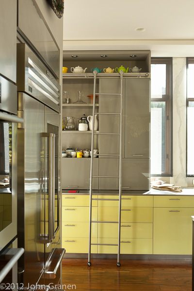 kitchen, ladder, cabinets, color, interior photographer, architectural photographer