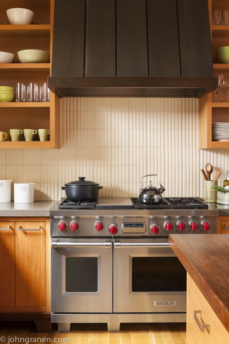 Kitchen, Portland, OR, range, backsplash, open cabinets, open shelving, interior photographer, architectural photographer