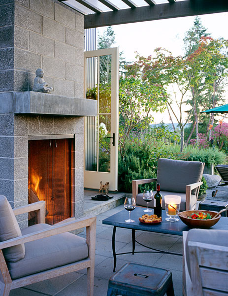 residential, veranda, stone fireplace, fire, dining, garden, furniture